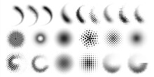 Halftone Gradient Spray. Dots And Circles Half Tone Graphic Elements. Black Points Round Shapes Or Curved Smears. Comic Pop Art Decorative Effects Set. Vector Abstract Geometric Spots