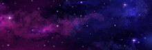 Night Sky. Universe Space Background. Starry Heaven With Milky Way And Nebulas. Scenic View Of Stars And Constellation. Decorative Cosmic Wallpaper With Color Gradient. Vector Astronomy