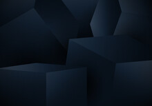 Abstract 3D Blue Cube Box On Dark Background