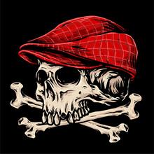 Cross Bone Skull With Flat Cap Illustration