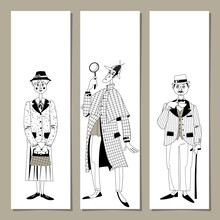 Set Of 3 Bookmarks With Great English Detectives. Template.