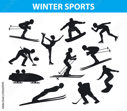 Canvas-taulu Winter ice snow sports silhouettes set including cross country, freestyle skiing