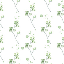 Seamless Pattern With Watercolor Lraves, Repeat Floral Texture, Background Hand Drawing. Perfectly For Wrapping Paper, Wallpaper, Fabric, Texture And Other Printing.