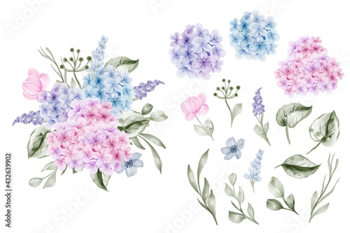 Canvastavla set of flower hydrangea blue pink and leaf isolated clip-art