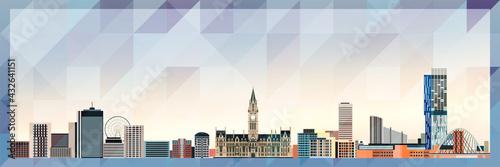 Fototapeta Manchester skyline vector colorful poster on beautiful triangular texture background obraz