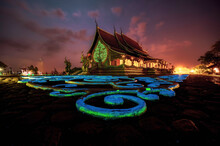 Wat Phu Phrao Temple Is A Temple And Tourist Attraction With Beautiful Architecture In The Evening. Thailand's Ubon Ratchathani