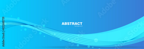 Fototapeta Abstract blue background and curve shape, background with copy space for design, vector