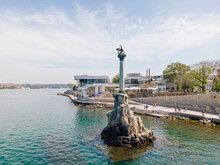 Symbol Of Sevastopol, Monument Column With Eagle Dedicated To Navy In Sunny Summer Day, Aerial View