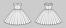 Knee-length Corset Bodice Dress With Strapless Neckline, Panel Lines And Cups, Seam At Waist, Back Zip Closure, Full Volume Skirt. Back And Front. Technical Flat Sketch. Vector Illustration.