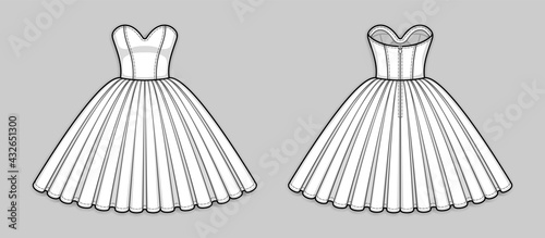 Photo Knee-length corset bodice dress with strapless sweetheart neckline, panel lines, seam at waist, back zip closure, full volume skirt