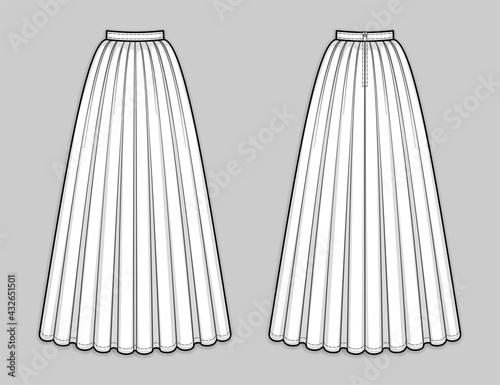 Obraz na płótnie Floor-length flared skirt with pleats, banded waist, back zip closure