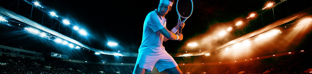 Tennis player with racket in white t-shirt. Man athlete playing on grand arena with tennis courts.