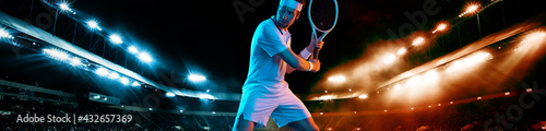 Fotografiet Tennis player with racket in white t-shirt