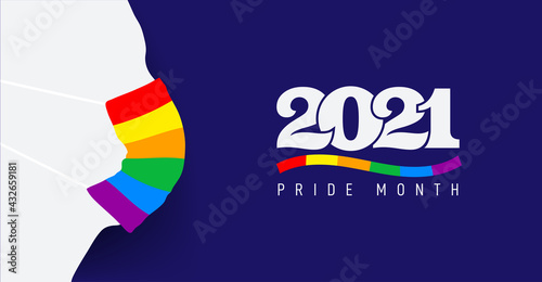 Silhouette with protective face mask colored in rainbow. Pride and COVID-19 protection concept. LGBT flag color and logo 2021 pride month. Flat vector illustration. Isolated on blue background. - fototapety na wymiar