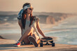 Leinwandbild Motiv Skater Girl