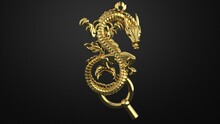 Golden Dragon, Amulet Of The Chinese Golden Dragon On A Dark Background 3d Render