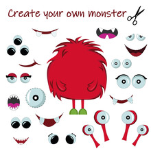 Set Of Monster Cartoon Elements. Monster Constructor. Create Your Own Monster. Different Mouths, Eyes, Isolated On White. Vector Illustration.