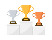 Gold, Silver And Bronze Trophy Cup. Winner Cups On Podium In Flat Style. Prize Champion. Vector Icon.