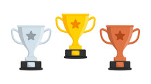 Gold, Silver And Bronze Trophy Cup. Winner Cups With Star In Flat Style. Prize Champion. Vector Icon.