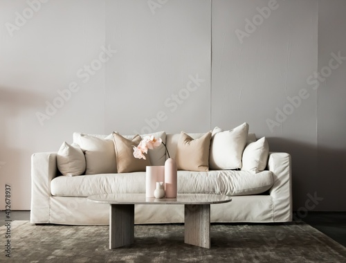 Fotomural The shoot of a luxurious living room with elegant furniture in a modern home