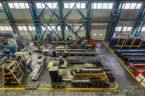 Fototapeta The interior of the metalworking shop. Modern industrial enterprise. obraz