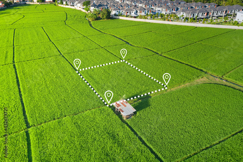 Fototapeta Land plot in aerial view. Identify registration symbol of vacant area for map. That property, real estate for business of home, house or residential i.e. construction, development, sale, investment. obraz