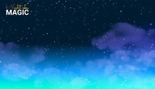 Magic Night Sky. Blue Space. Fairy Dust Infinity. Abstract Universe Background. Shining Stars. Vector Illustration.