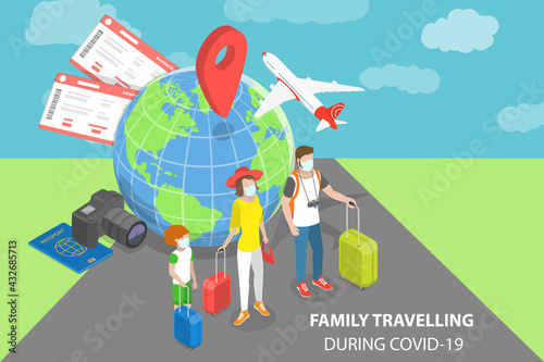 3D Isometric Flat Vector Conceptual Illustration of Family Travelling During COVID-19, Wearing Face Mask - fototapety na wymiar