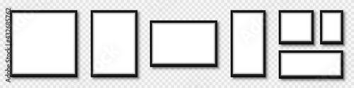 Obraz na plátne Set photo frame, frame with shadow on transparent background, picture frames in