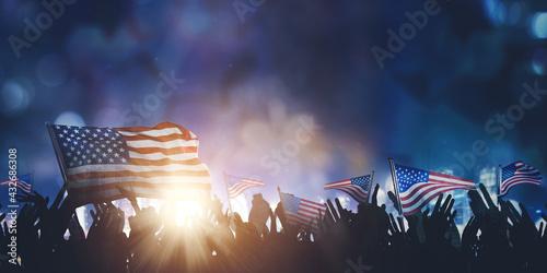 Crowd people celebrating America Independence Day - fototapety na wymiar