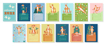 Calendar Template 2022 With Images Of Tigers - Symbols Of The Chinese Calendar Year. Design Concept With Tigers In Different Seasons. A Set Of 12 Months, 12 Different Pages. Vector Illustration