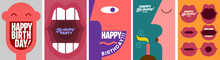 Birthday. Simple, Fun, Vector Illustrations. A Set Of Vector Illustrations. Happy Birthday Greeting. Happy Face. A Screaming Mouth. The Man Blows Out The Candle.