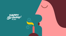 Birthday. Simple, Fun, Vector Illustrations. A Man Blows Out The Candles On A Cake.