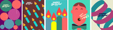Birthday. Simple, Fun, Vector Illustrations. A Pattern Of Festive Balloons, Candles, A Person Singing A Song, A Festive Ribbon.