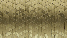 Polished, Gold Wall Background With Tiles. Luxurious, Tile Wallpaper With Triangular, 3D Blocks. 3D Render
