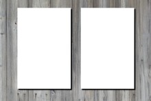 Blank White Paper A4 Sheet Two Page Of Brochure On Wooden Grey Desk Floor Wall Plank Background