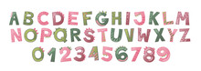 Cartoon Cute Dinosaur Alphabet For Girl. Dino Font With Letters And Numbers. Children Vector Illustration For T-shirts, Cards, Posters, Birthday Party Events, Paper Design, Kids And Nursery Design
