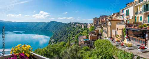 Scenic sight in Castel Gandolfo, with the Albano lake, in the province of Rome, Lazio, central Italy. - fototapety na wymiar