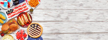 Fourth Of July, Patriotic, American Themed Food. Top View Side Border On A White Wood Banner Background. Copy Space.