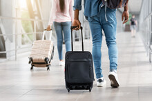 Diverse People Walking In Airport Terminal With Suitcase Luggage, Cropped Image