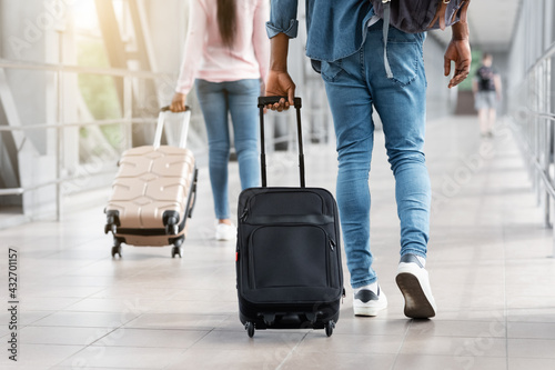 Diverse People Walking In Airport Terminal With Suitcase Luggage, Cropped Image - fototapety na wymiar