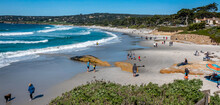 Families And Dog Walkers Enjoy The Sandy Shores Of Carmel Beach, Along The Monterey Bay Of The Central California Coast.