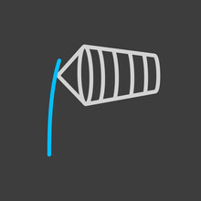 Windsocks Inflated By Wind Icon On Dark Background