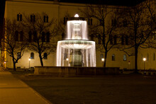 Fountain At The Geschwister-Scholl-Platz, In Front Of The LMU In Munich At Night