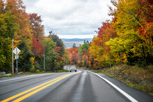 Canaan Valley Near Davis, West Virginia During Colorful Autumn Fall Season With Red Maple Trees Foliage On Road Trip Scenic Highway 32 And Car