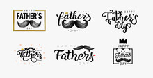 Happy Father`s Day Lettering. Set Of Happy Fathers Day Calligraphy Banner. Template For Banner, Web, Social Network, Cover, Poster. Dad My King. Hand Drawn Black Mustache. Vector Freehand Drawing.
