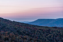 High Angle View On West Virginia Monongahela National Forest Little Laurel Mountains Overlook In Highland Scenic Highway In Autumn With Colorful Tree Foliage At Morning Sunrise With Rolling Hills
