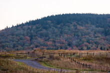 Countryside Rural Gravel Dirt Road By West Virginia Monongahela National Forest Little Laurel Mountains Scenic Overlook In Autumn In Highland Scenic Highway Morning Sunrise With Rolling Hills