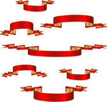 Set Of Red And Gold Ribbons