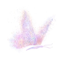 Abstract Butterfly With Bright Pink, Purple And Yellow Wings Consisting Of Blotches And Splashes On An Isolated White Background. Watercolor Illustration.